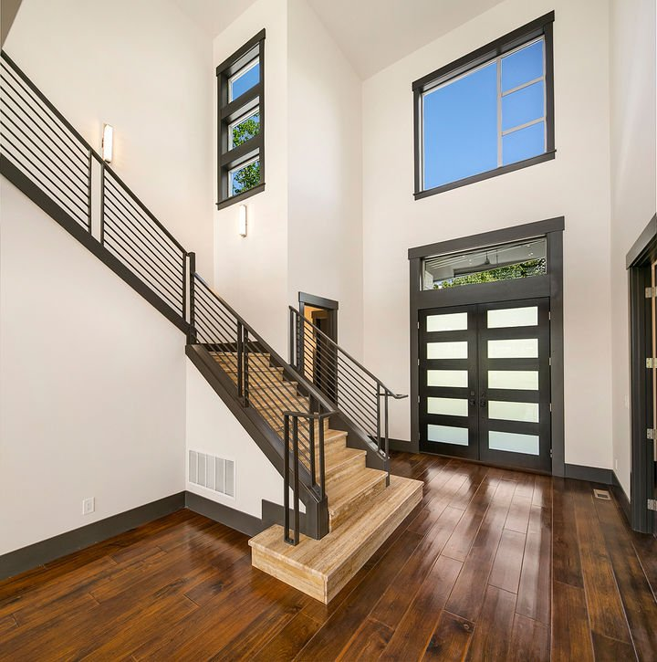 Contrasting Wood Floors Bamboo Stairs Custom Flooring High-End