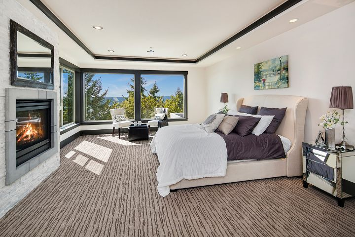 Luxury Home Bedroom With Patterned Lined Carpet