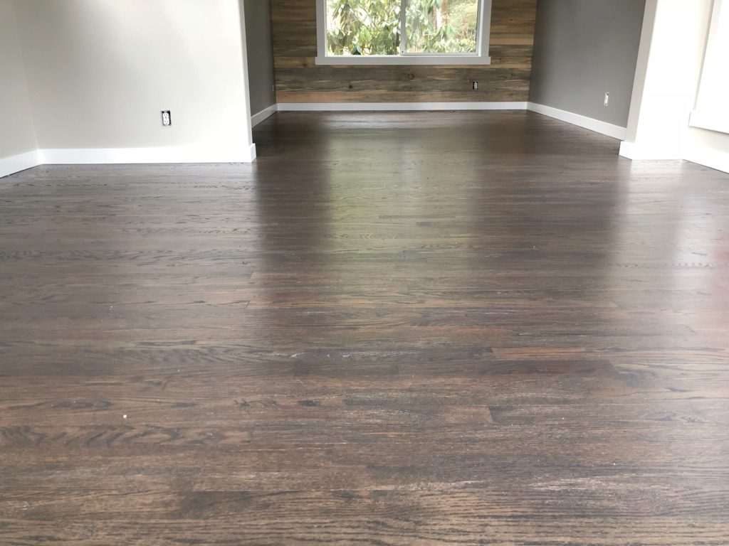 Refinished Wood Floors With Modern Gray Stain