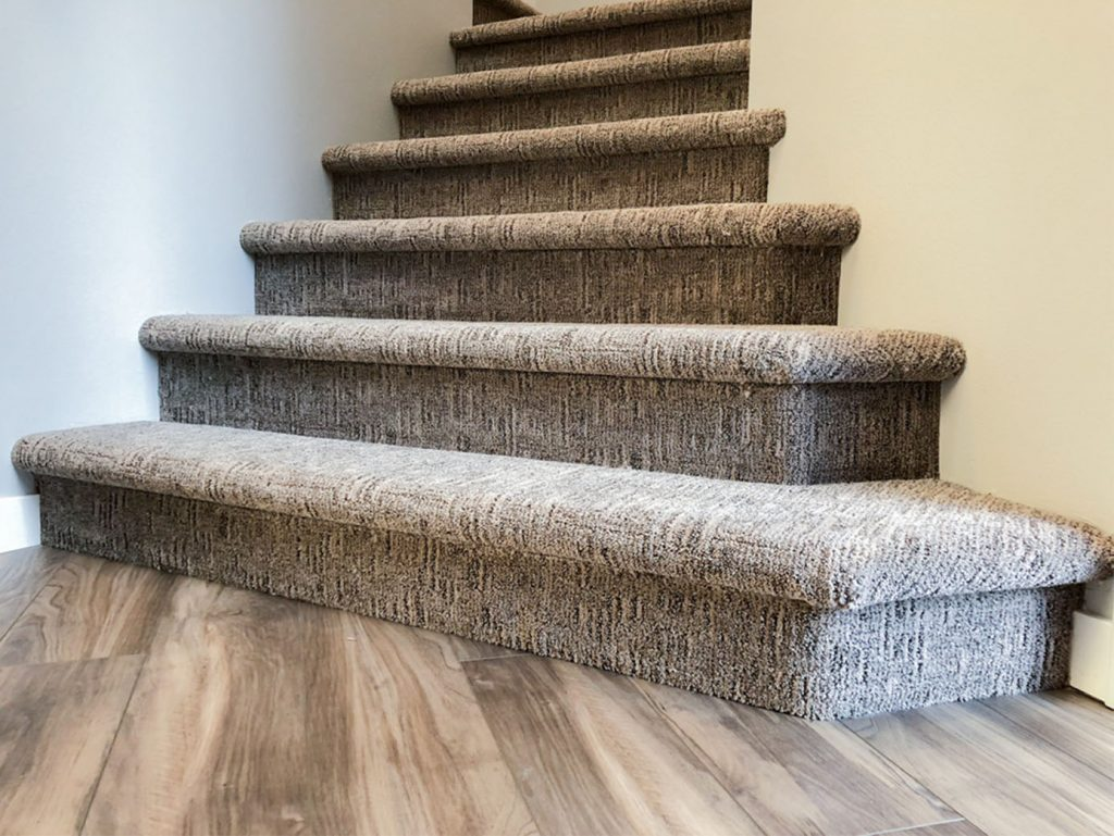 Carpeted Bullnose Stairs Patterned Loop Cut Carpet