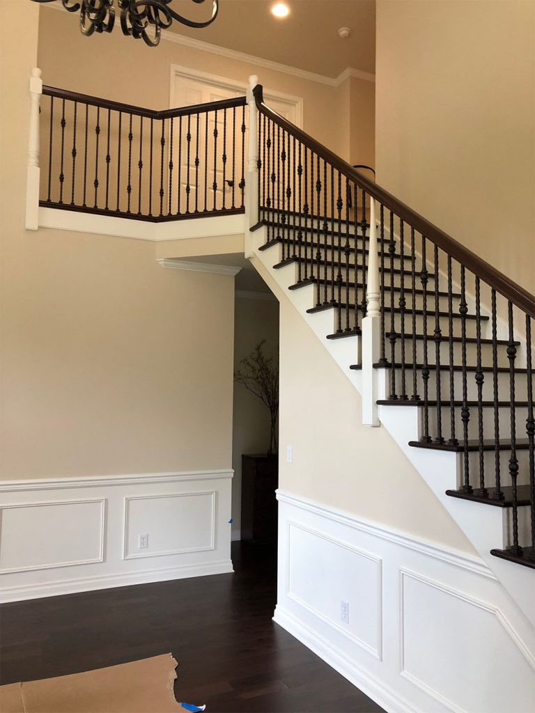 Custom Wood Match On Stairs Dark Stain