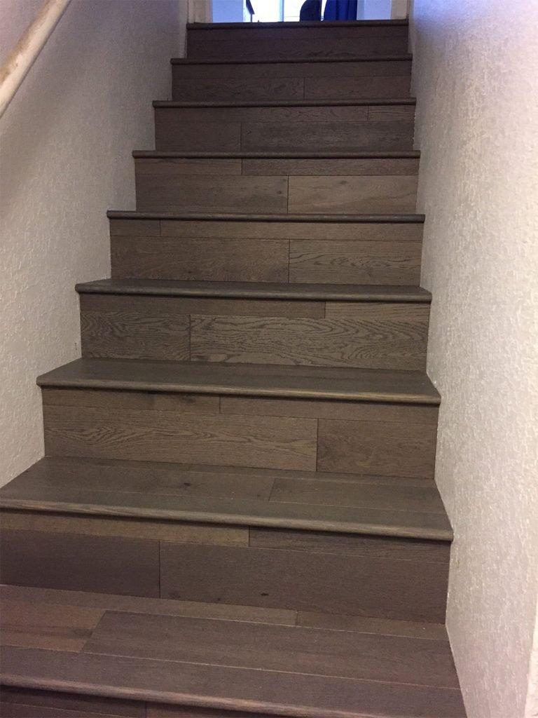 Flush Stairnose Modern Gray Hardwood Stairs
