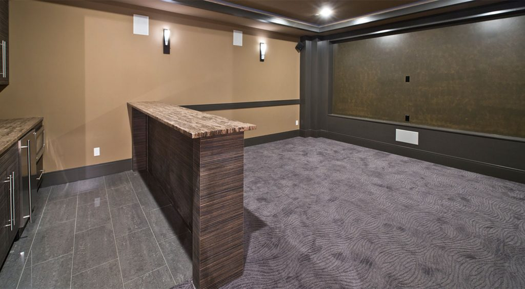 Gray Tile And Carpet In Bar Area