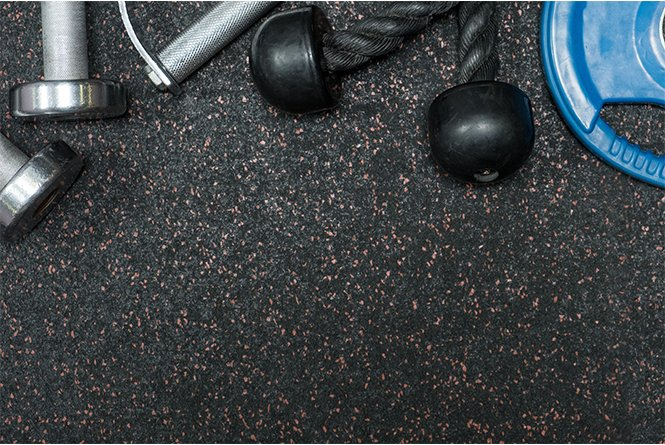 Rubber Flooring Gym With dumbbell